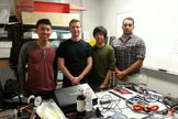 The UCSD microgravity fire experiment team, from left: Henry Lu, Sam Avery, Josh Sui, Seeman Farah.