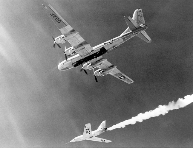 Space History Photo: X-2 After Drop from B-50 Mothership