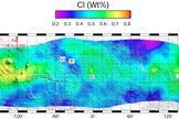 Equatorial and mid-latitude distribution of chlorine (Cl) within the top one meter of Mars measured by the Gamma Ray Spectrometer onboard NASA's Mars Odyssey. The global concentration of Cl is similar to the measured concentration of ClO4- at two landing sites (Px=Phoenix; C=Curiosity), suggesting that ClO4 could be globally distributed. V1-Viking 1; V2=Viking 2; O=Opportunity; S=Spirit; P=Pathfinder.