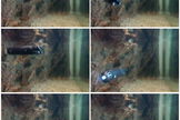 Movie sequence of a miniature submarine exploring under the ice.
