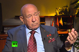 Video still showing former Soviet cosmonaut Alexei Leonov, the first man to walk in space, during his interview with the RT television network.