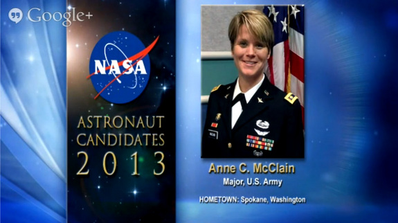 NASA's astronaut candidates for 2013, including Anne C. McClain, were announced on June 17, 2013.