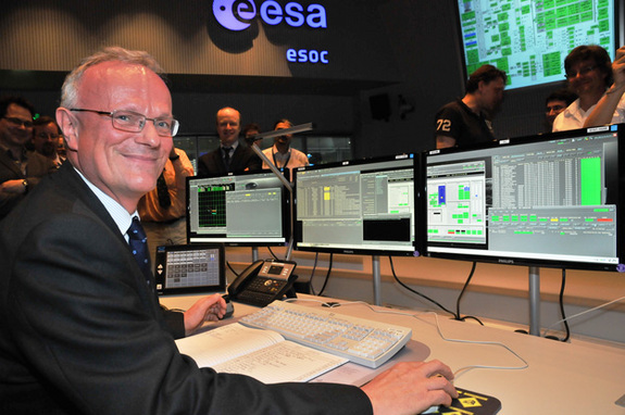 Martin Kessler, head of ESA's science operations department, sends the final command to the Herschel space telescope from the European Space Operations Center in Darmstadt, Germany.