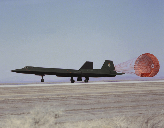 Space History Photo: SR-71 Landing with Drag Chute