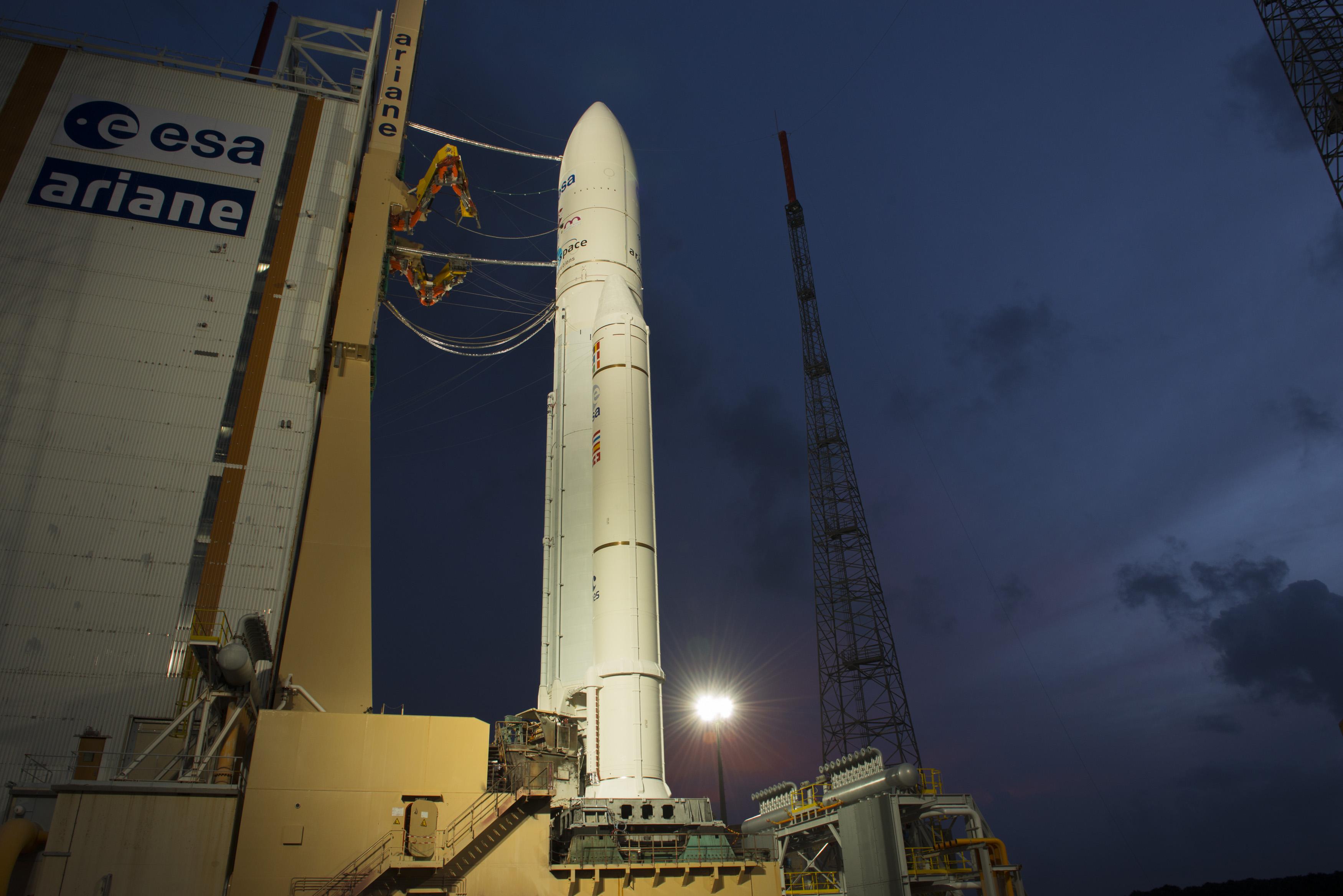 Ariane 5 Illuminated at Launch Pad