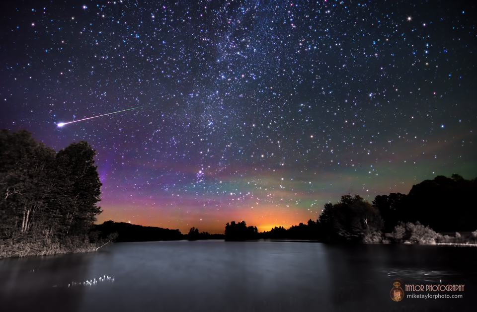 Milky Way Airglow Meteor Over Branch Pond Maine