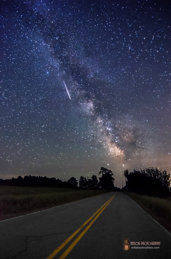 Standing in the middle of the road in Maine, Mike Taylor took this photo of a meteor soaring through the sky over what locals call Mo's Mountain. He captured this photo on June 10, 2013.