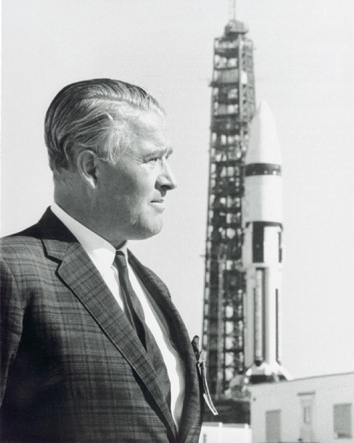 Space History Photo: Wernher von Braun and Saturn IB on Launch Pad