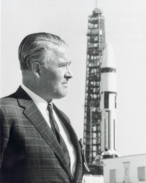 Space History Photo: Wernher von Braun and Saturn IB on Launch Pad
