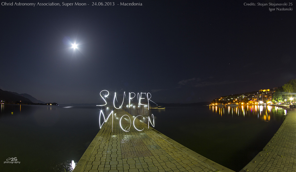 Supermoon and Light Painting in Macedonia
