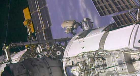Russian Spacewalker Outside of Space Station