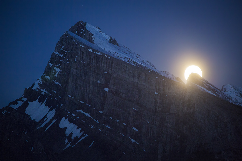 Supermoon Rises Over Banff National Park