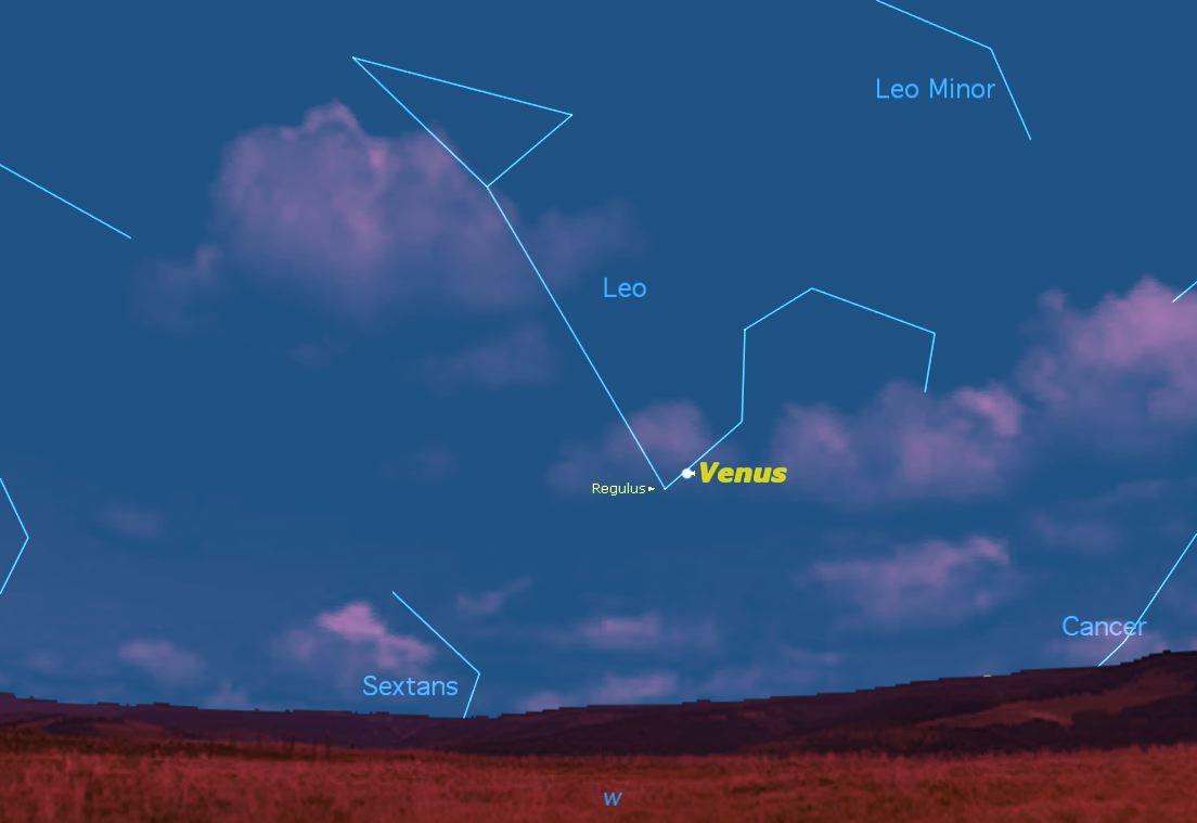 Regulus and Venus, July 2013