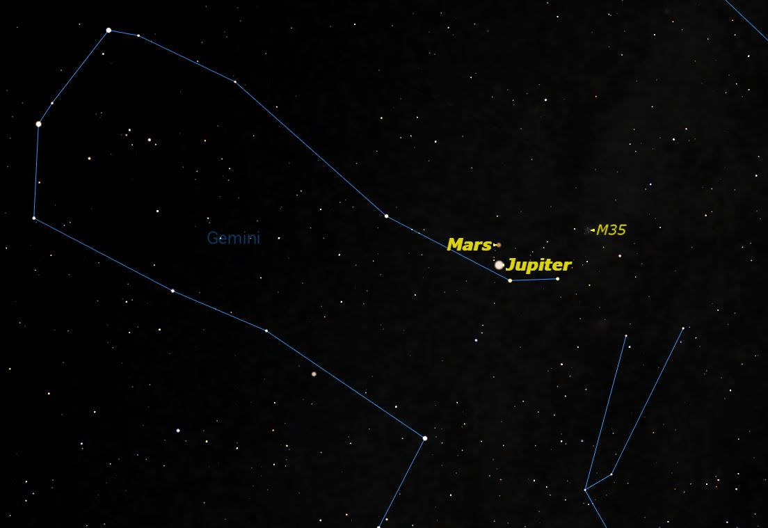 Mars and Jupiter, July 2013