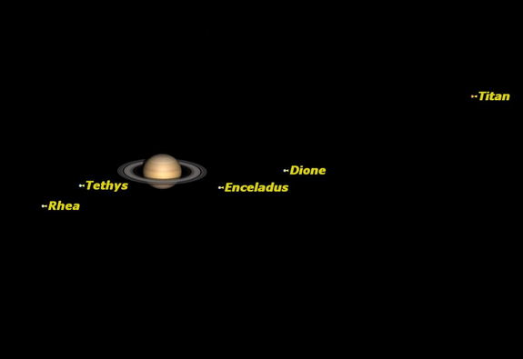 Saturn is high in the western sky at just after sunset, and sets around midnight.