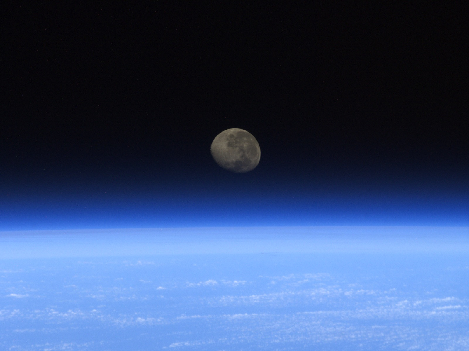 Moonset From ISS space wallpaper
