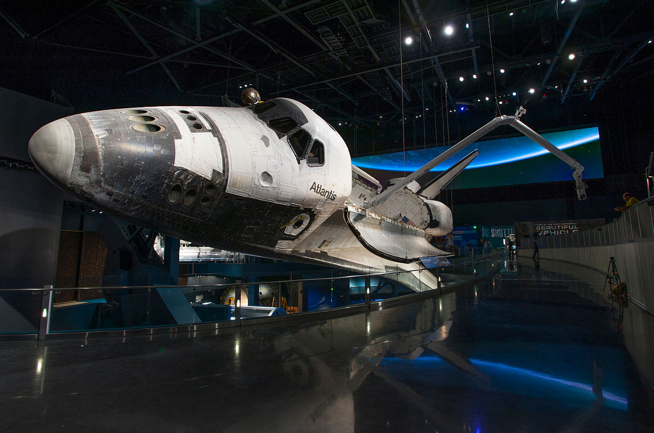 NASA's space shuttle Atlantis is on display at the Kennedy Space Center Visitor Complex in Cape Canaveral, Fla.