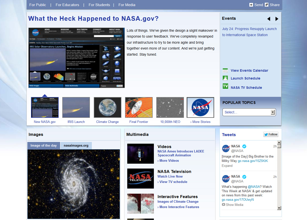 NASA Launches New Website Look