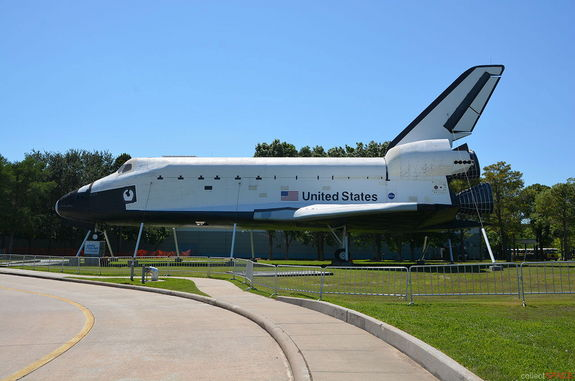 "The full-scale, high-fidelity space shuttle mockup formerly known as ""Explorer"" as seen at Space Center Houston."