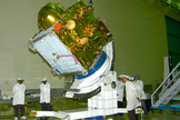 The Indian Regional Navigation Satellite System 1A satellite, IRNSS-1A, is prepared for its July 1, 2013, launch by the Indian Space Research Organisation. It is India's first navigation satellite.