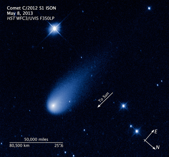 The Hubble Space Telescope captured this view of Comet ISON, C/2012 S1 (ISON), on May 8, 2013 as it streaked between the orbits of Jupiter and Mars at 48,000 mph. This annotated view shows the comet's scale and direction of motion.