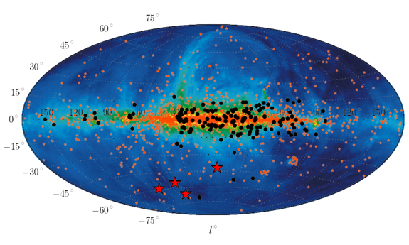 The positions of the newly detected four Fast Radio Bursts (FRBs) are marked as red asterisks in this map of the entire sky in galactic coordinates. The source of extragalactic radio signals has baffled astronomers. Image released July 4, 2013.