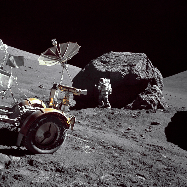 Space History Photo: Schmitt Next to Big Boulder