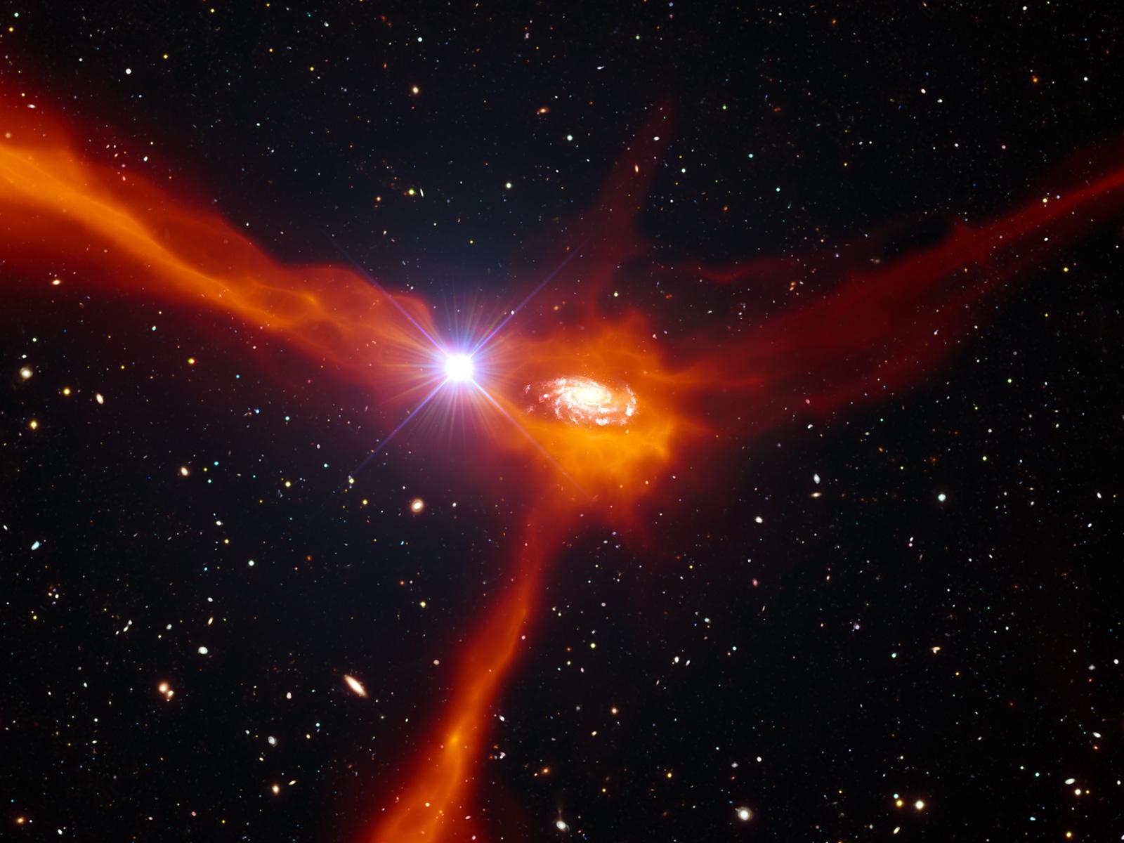 Quasar Artist's Impression How Galaxies Refuel space wallpaper