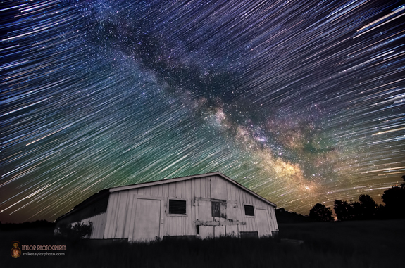 Mike Taylor sent SPACE.com this photo, which is a composite of 81 frames from a static time lapse of the Milky Way moving across the sky over rural Maine. Taylor stacked the frames of this sequence to make a standard star trails image and then blended/masked in a single frame of the Milky Way. He used a Nikon D7000 camera and a Tokina 11-16mm at 11mm, f/2.8, 25 sec, ISO 1600 on June 10, 2013 to capture the image.