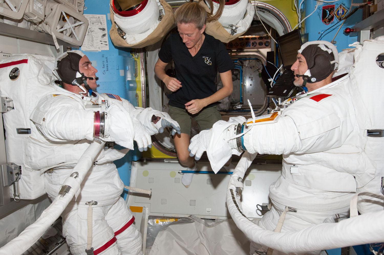 Astronauts Prepare for Spacewalk