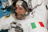 Clad in a white spacesuit with his country's green, white and red flag decorating his left shoulder, Luca Parmitano emerged from the International Space Station to become Italy's first astronaut to walk in space on July 9, 2013. Prior to his excursion, Parmitano shared a taste of his home country with his crewmates.