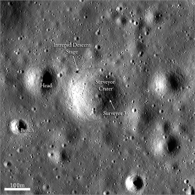 Lunar Reconnaissance Orbiter Eyes Apollo 12, Surveyor 3 Sites