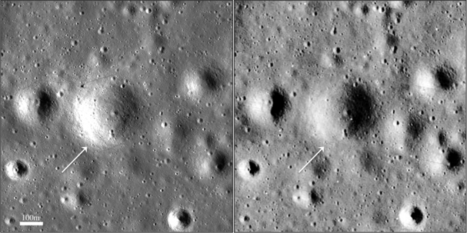 Side-By-Side of Surveyor Crater