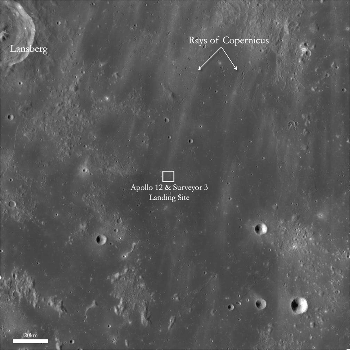 Wide Look at Apollo 12 and Surveyor 3 Landing Sites