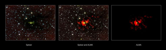 This composite shows the region around the massive star-forming region SDC 335.579-0.292 seen using NASA's Spitzer Space Telescope and ALMA. Image released July 10, 2013.