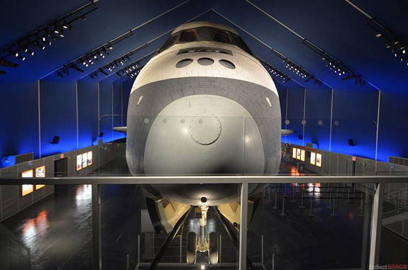 """Visitors to the Intrepid Sea, Air and Space Museum's new """"Space Shuttle Pavilion"""" can come nose-to-nose with Enterprise atop an expanded platform."""