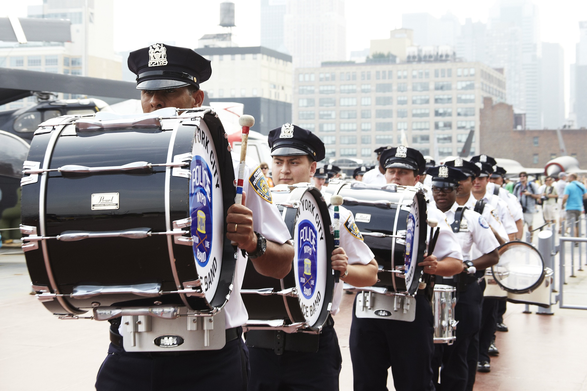 NY Police Department Marching Band Performs at Enterprise Reopening