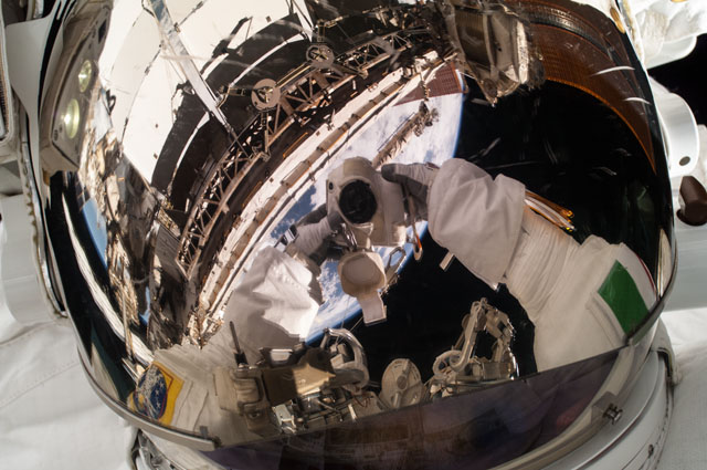 Parmitano Takes 'Selfie' During Spacewalk