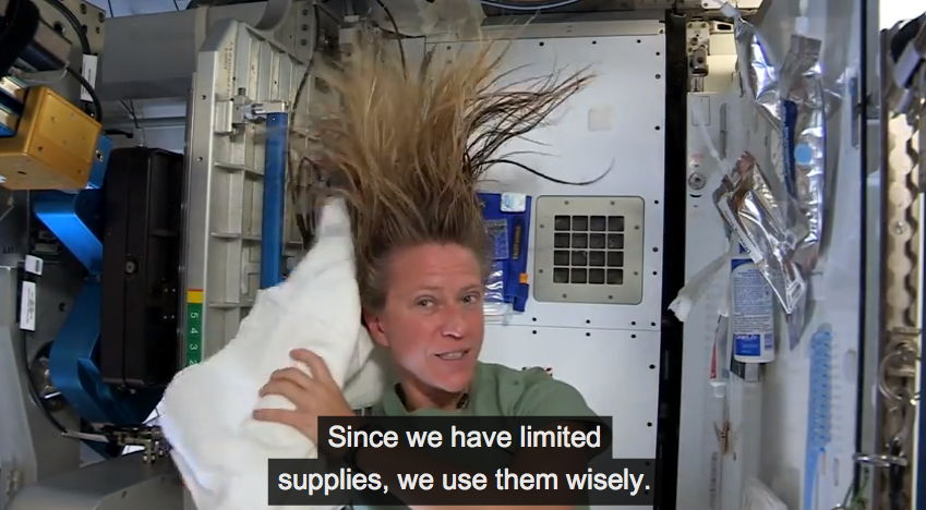 Astronaut Nyberg Demonstrates Washing Hair on the International Space Station #2