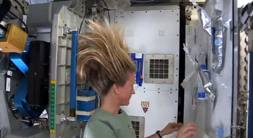 Astronaut Nyberg Washes Her Hair in Space