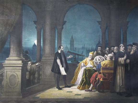 A 1754 painting by H.J. Detouche shows Galileo Galilei displaying his telescope to Leonardo Donato and the Venetian Senate.