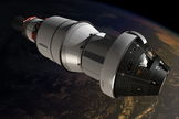 This artist's concept shows the Orion crew module during its planned orbital test flight in 2014. Orion is the world's first interplanetary spacecraft, capable of transporting up to four astronauts beyond low-Earth orbit on long-duration, deep-space missions to destinations such as asteroids, the moon, or Mars.