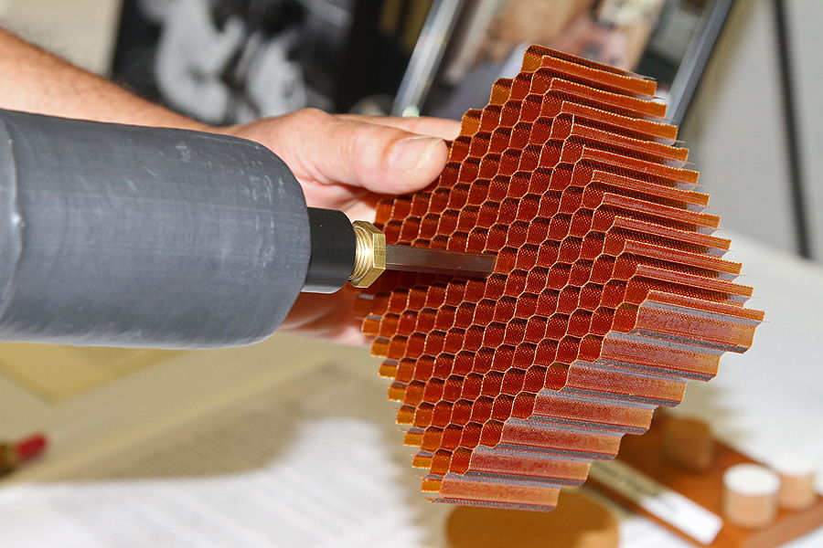 Close-Up of Orion Heat Shield's Honeycomb