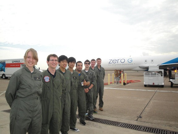 Members of the UCSD Microgravity Team await their first weightless flight on Zero Gravity Corporation's G-Force One jet on July 19, 2013, during NASA's Microgravity University weightless flight week. The University of California, San Diego team is: (left to right): Daneesha Kenyon, Andrew Beeler, Joshua Siu, Victor Hong, Nico Montoya, Joshua Sullivan, team leader Sam Avery, and Jack Goodwin. NASA mentor Christina Gallegos not pictured.