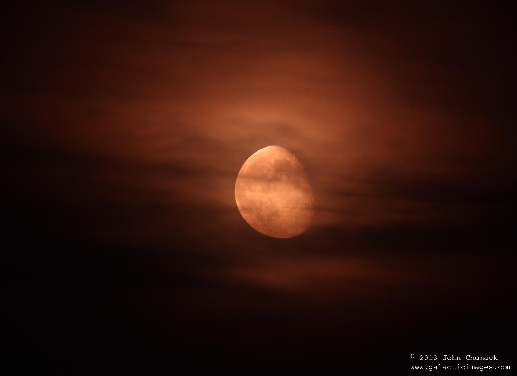 Hazy Gibbous Moon Glows Over Canada (Photo)