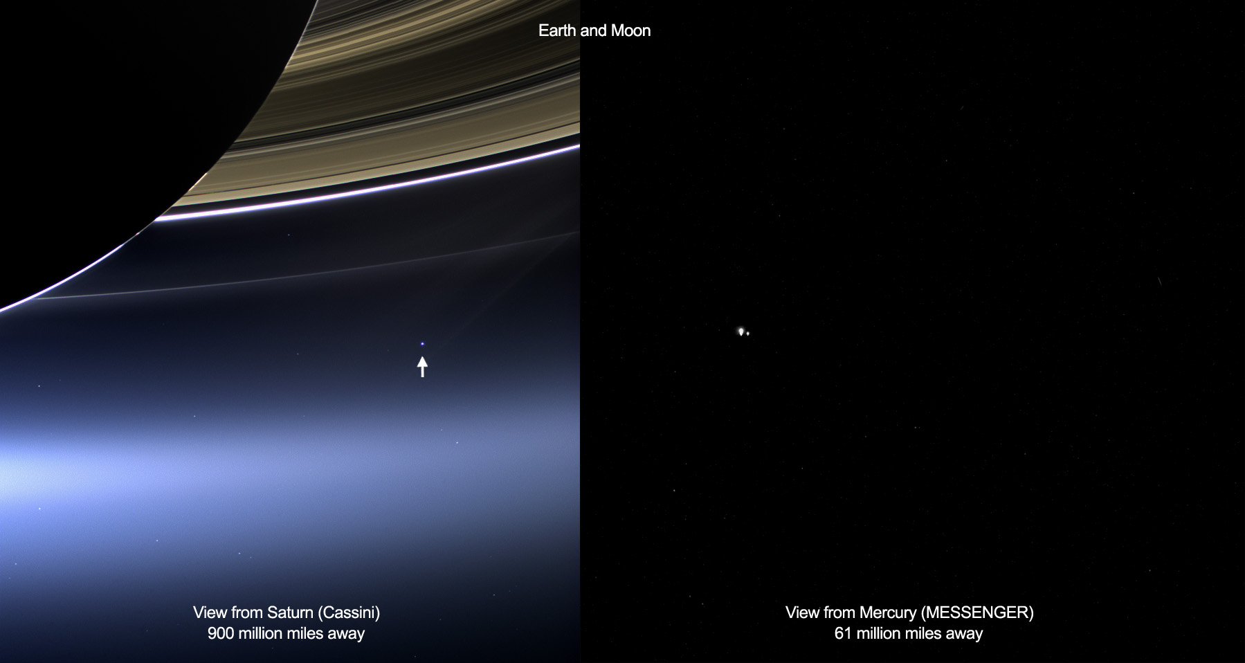 Earth and Moon: Views from Saturn & Mercury