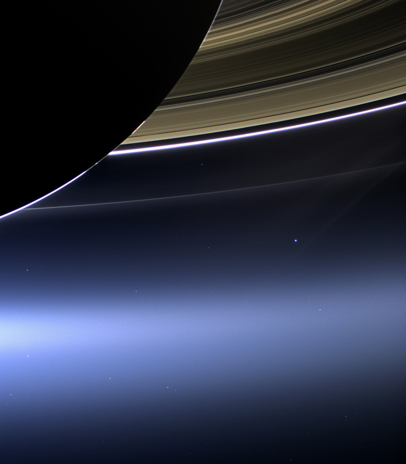 Saturn's Rings With Earth and Moon