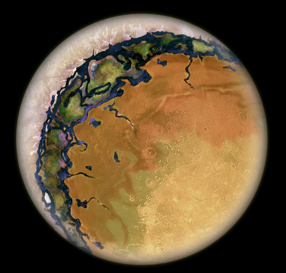 "An ""eyeball Earth,"" with its permanent sun-facing side a dry landscape, a temperate ring near the day-night line where water can exist in liquid form, and its dark side piled high with ice."