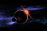 An artist's conception of an exoplanet with two moons orbiting in the habitable zone of a red dwarf star.