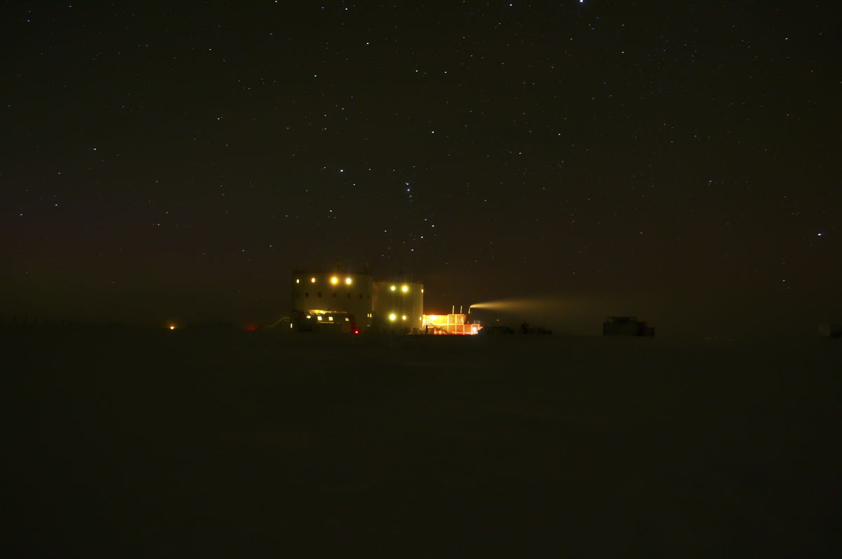 Winter Night at Concordia Station in Antarctica